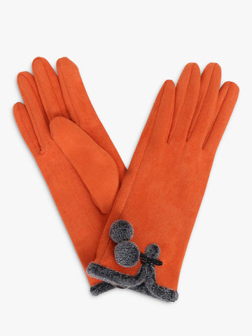 Faux Suede Gloves with Pom Pom Detail - Tangerine