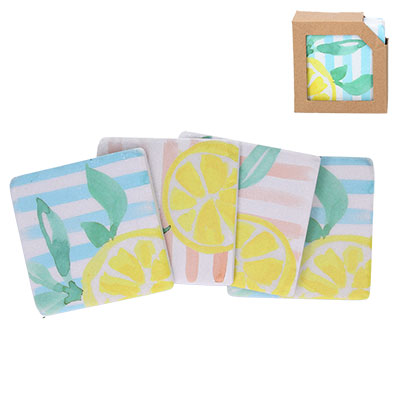 'Summer Lemons' Set of 4 Coasters