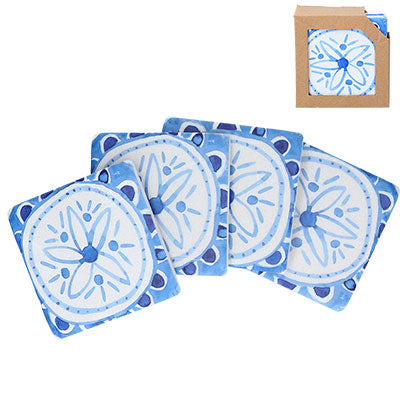 'Indigo Flowers' Set of 4 Coasters