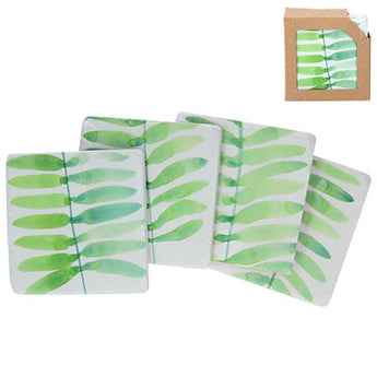 'Watercolour Fronds' Set of 4 Coasters