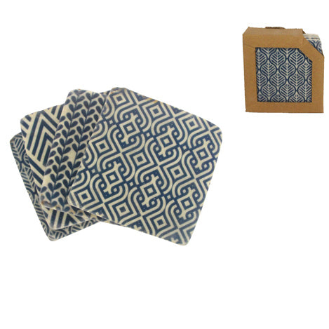 'Blue Geo Print' Set of 4 Coasters