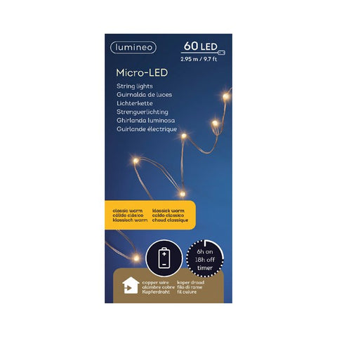Micro LED String Lights (60 LEDs) - Copper/Classic Warm
