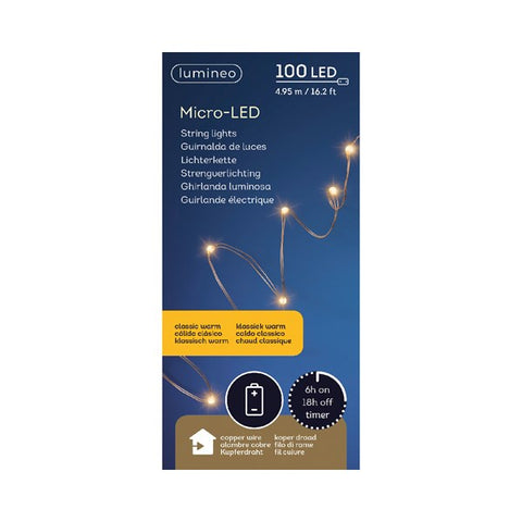 Micro LED String Lights (100 LEDs) - Copper/Classic Warm