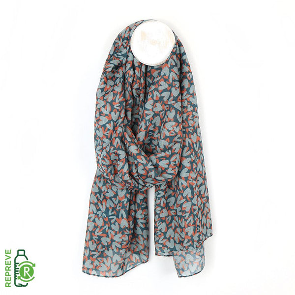 Heart Print Scarf - Blue & Orange