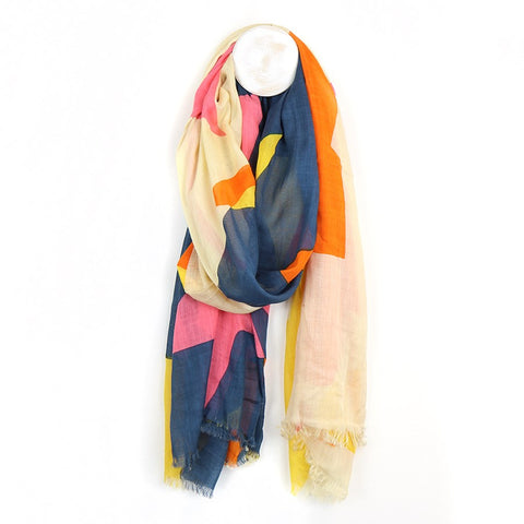 Star Print Scarf - Pink, Navy & Orange
