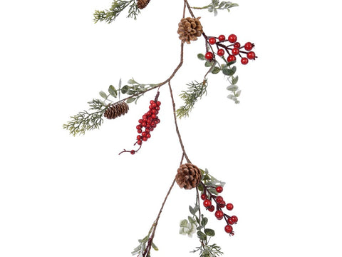 Natural Garland With Leaves, Cones & Berries