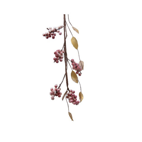Pink Berries & Gold Leaf Garland