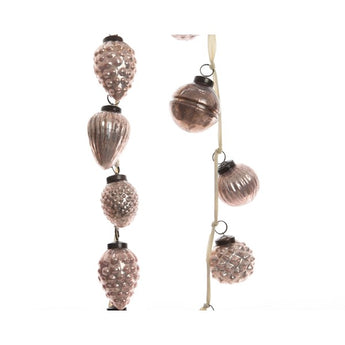 Assorted Glass Bauble Garland - Blush Pink