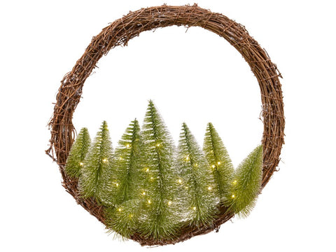 Natural Willow Wreath With Mini Trees - Small