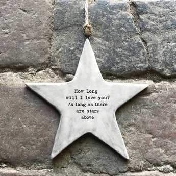 Rustic Hanging Star - How Long Will I Love You