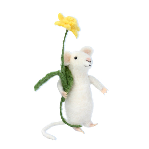 White Mouse With Daffodil