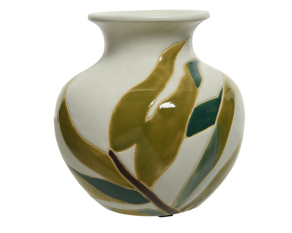 Earthenware Vase With Leaf Pattern