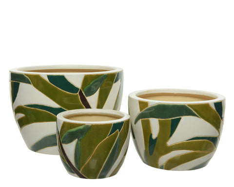 Earthenware Pots With Leaf Pattern