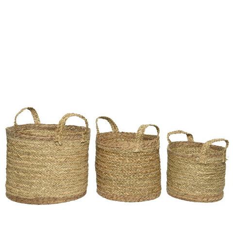 Seagrass Round Baskets With Handles