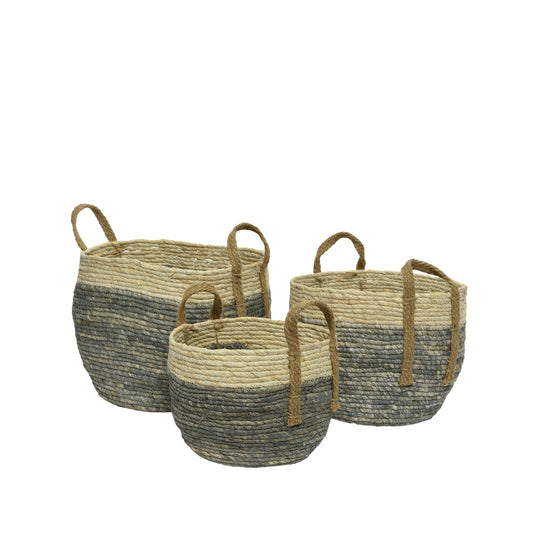 Woven Cornleaf Baskets With Handles