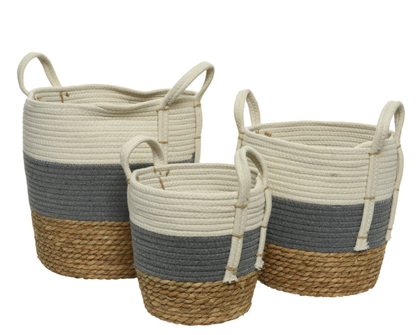 Woven Cornleaf & Fabric Baskets