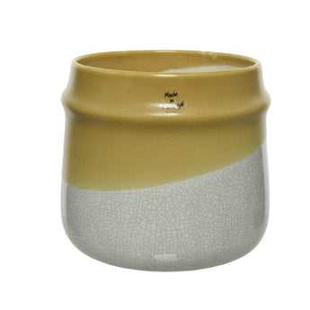 Yellow Pot With Reactive Glaze