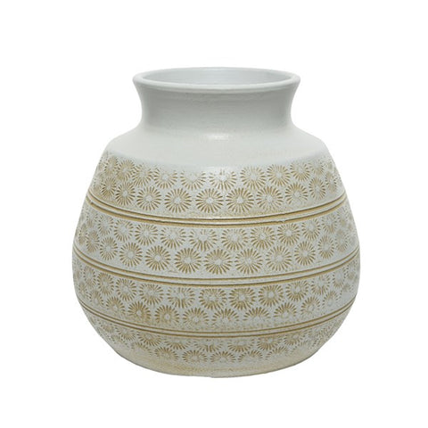 Terracotta Patterned Short Vase