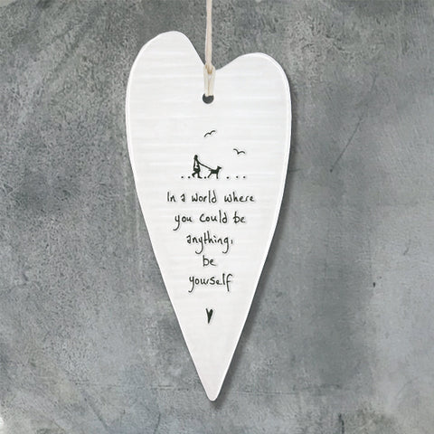 Porcelain Wobbly Long Heart - 'Be Yourself'