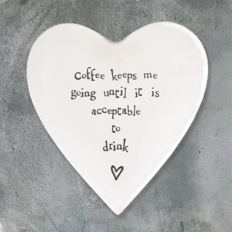 Porcelain Heart Coaster - 'Coffee Keeps Me Going'