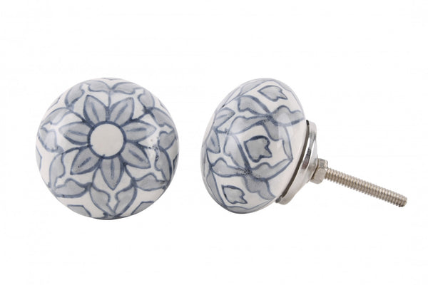 Grey & Blue Flower Drawer Pull