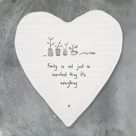Porcelain Heart Coaster - 'Family is Everything'