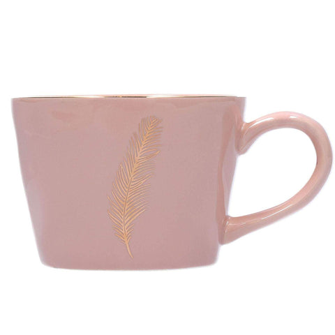 Gold Feather Mug - Pink