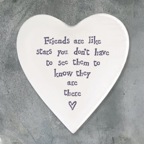 Porcelain Heart Coaster - 'Friends Are Stars'