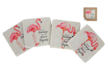 'Be A Flamingo' Set of 4 Coasters