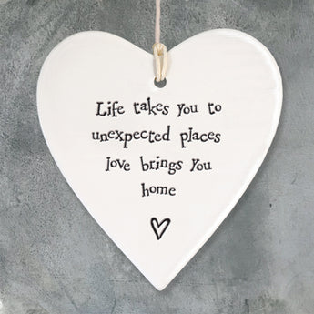 Porcelain Round Heart - 'Life Takes You'
