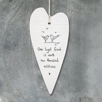 Porcelain Wobbly Long Heart - 'One Loyal Friend'