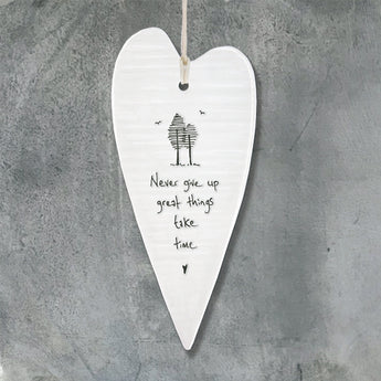 Porcelain Wobbly Long Heart - 'Never Give Up'