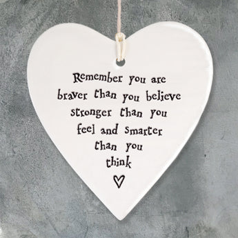 Porcelain Round Heart - 'Remember You are Braver'