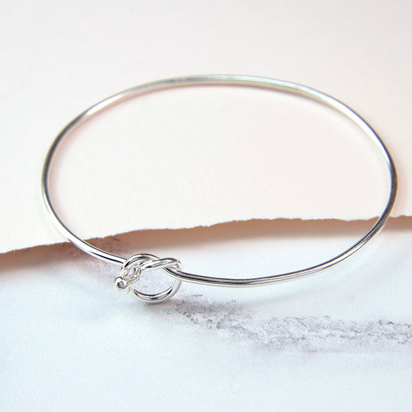 Infinity Knot Silver Bangle