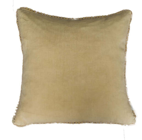 Straw Yellow Linen Cushion