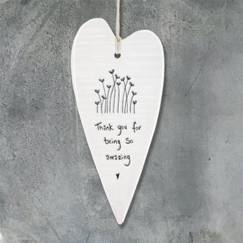 Porcelain Wobbly Long Heart - 'Thank You'