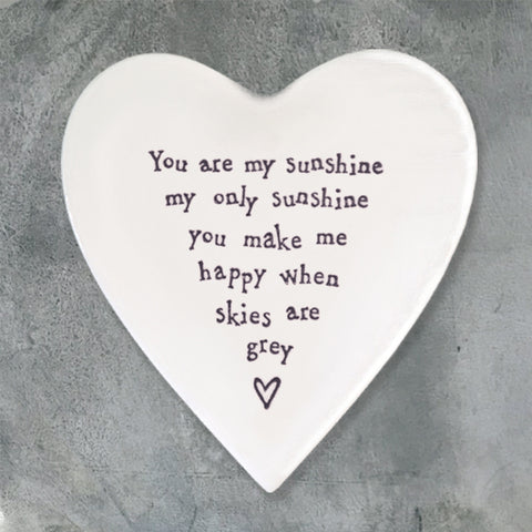 Porcelain Heart Coaster - 'You Are My Sunshine'