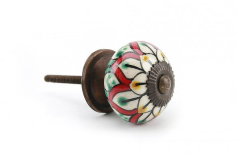Red & Green Flower Drawer Pull