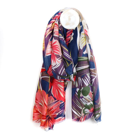 Tropical Print Scarf - Navy