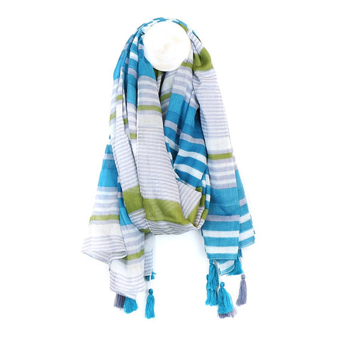 Bright Stripped Cotton Scarf - Blue & Grey