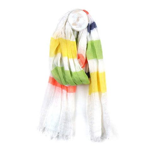 Bright Stripe Woven Scarf - Yellow Mix