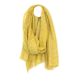 Mustard-Washed Scarf With Metallic Dashes