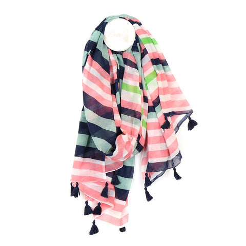 Bright Stripped Cotton Scarf - Salmon & Navy