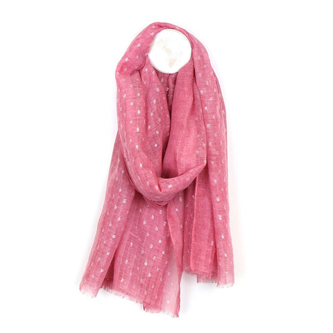 Pink-Washed Scarf With Metallic Dashes