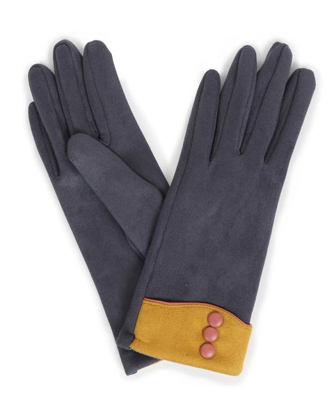 Cassie Faux Suede Gloves  - Charcoal