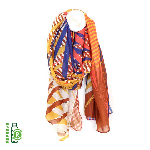 Recycled Scarf - Bright Palm Leaf