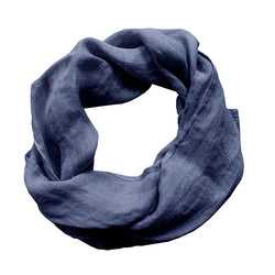 Pure Linen Scarf - Navy Blue