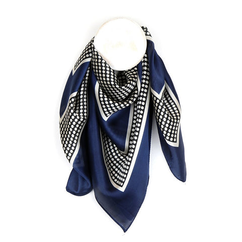 Dotty Silk-Feel Navy Square Scarf