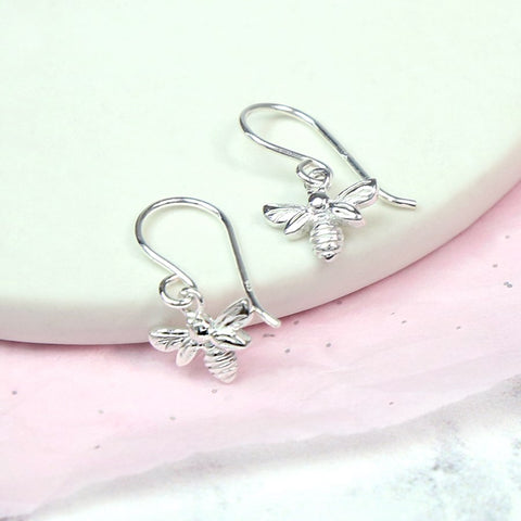 Silver Little Bees Drop Earrings