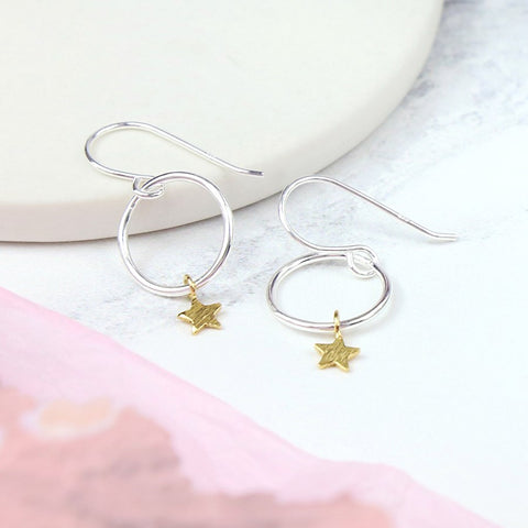 Silver Hoops With Stars Drop Earrings